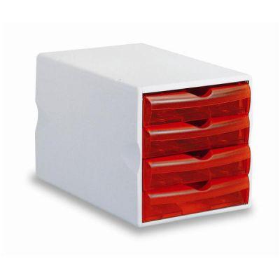 Cassettiere serie Modula 4  Big rosso trasparente 4 cassetti 5 cm-formato 25x37x25cm  portaoggetti e piedini antidrucciolo