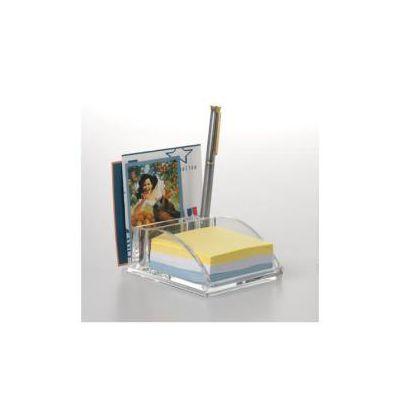 Portamemo con porta penne Lines Mr Acrylic trasparente -- 12x8x5 cm  realizzata in acrilico per visualizzarne il contenuto