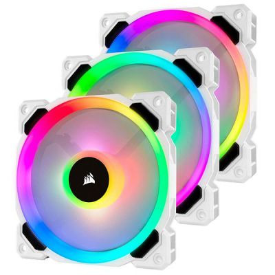 LL120 RGB White  120mm Dual Light Loop RGB LED PWM Fan  3 Fan Pack with Lighting Node PRO