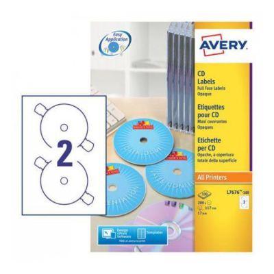 Etichette Full-Face bianche per CD - stampanti Laser - d.117 - 100 ff