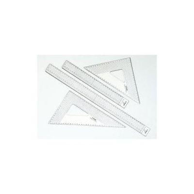 Squadra Grafica 45° cm 30 in plexi cristall da mm 3 con millimetratura su ogni lato  profilo in acciaio