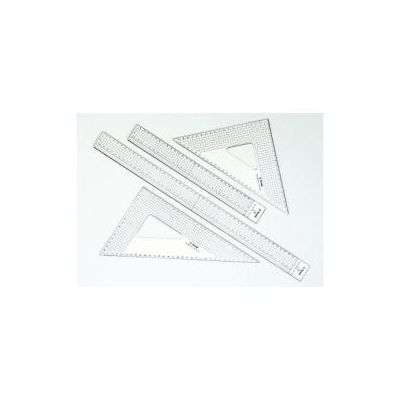 Riga Grafica 30 cm -- in plexi cristall da mm 3 con millimetratura su ogni lato  profilo in acciaio