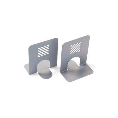 Coppia di Reggilibri in metallo verniciato grigio - - 13x12x16 cm (conf.2)