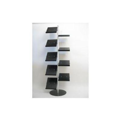 Espositore 9 ripiani inclinabili (cm 23x28x3)- -in ABS nero regolabili in altezza  61x45x179cm