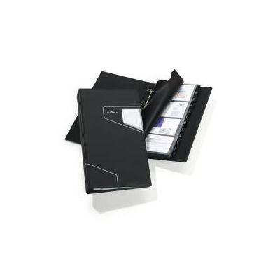 VISIFIX PRO A4  portabiglietti da visita a 4 anelli per 400 biglietti - finitura opaca e dettagli color argento  col. carbone