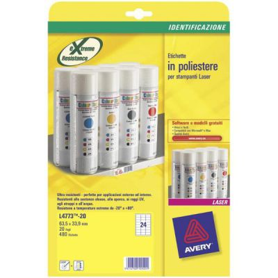 Etichette in poliestere bianco - stampanti Laser - 63,5x33,9 - 20 ff