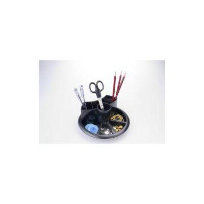 Portaoggetti girevole nero -  - 20-h8cm  5 ampi alloggiamenti alti per penne o matite  5 vani bassi per la comune cancelleria