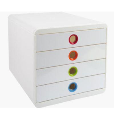 POP-BOX 4 CASSETTI CHIUSI BIANCO/ARLECCHINO
