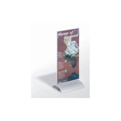 Portastampati da tavolo  leggibile da entrambi i lati  pannello in acrilico e base in alluminio  237 x 107 x 85 mm (conf.6)