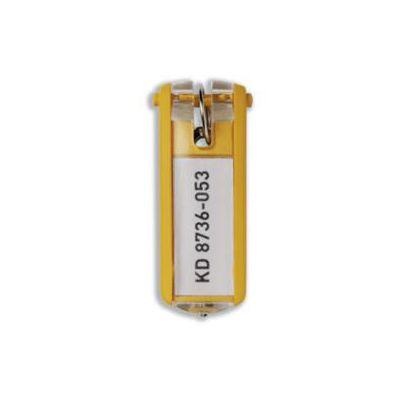 Portachiavi colore giallo  in plastica  l etichetta è sempre visibile  pratica chiusura a scatto  spazio per 2-3 chiavi (conf.6)