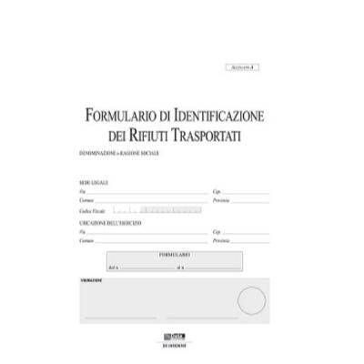 FORMULARIO DI IDENTIFICAZIONE RIFIUTI TRASPORTATI  SNAP OUT A 4 COPIE AUTORICALCANTI (NO COPERTINA COPIE SNAP)