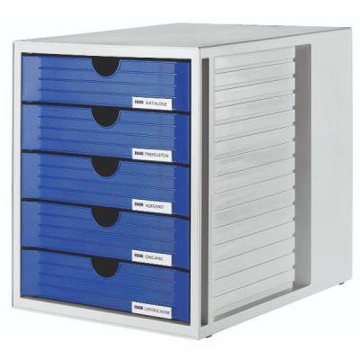 CASSETTIERA SYSTEMBOX  CON 5 CASSETTI CHIUSI  BLU