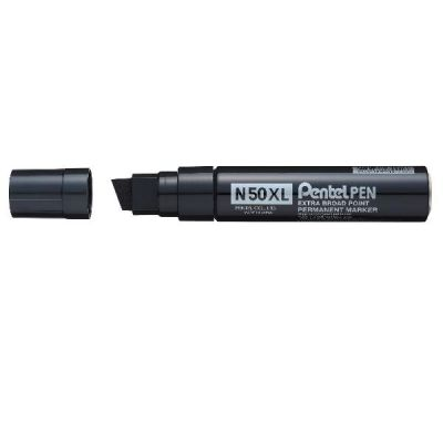 Marcatore permanente nero con punta XL e fusto in metallo. Punta 8-15,4 mm