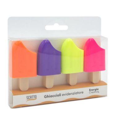 Evidenziatori punta scalpello colori fluo assortiti .