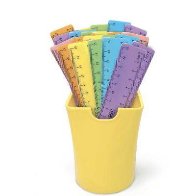 Barattolo righelli in plastica colore pastello  assortiti.