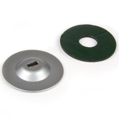 Piastra in metallo zincato con foro per punto di ancoraggio cavo di sicurezza PC.