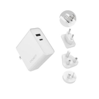 PowerPlus 60W USB-C PD + 12W USB-A Charger + Travel adaptors - AU/UK/EU White