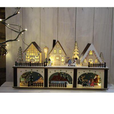 Paesaggio natalizio 3 casette legno