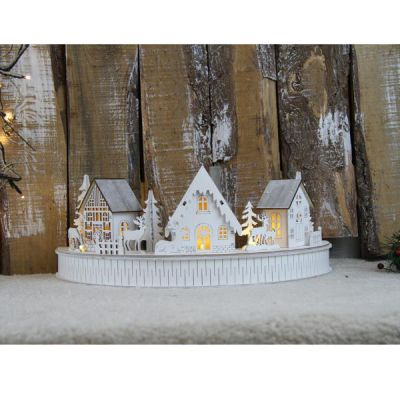 Paesaggio natalizio mezzo cerchio bianco