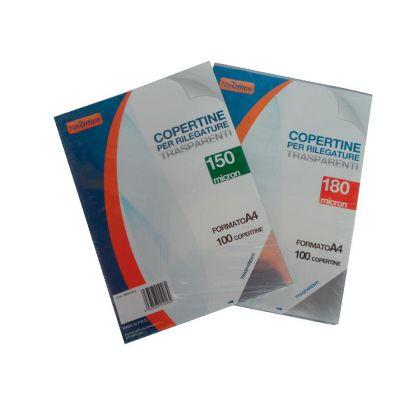 ACETATI PER RILEGATURA NIKOFFICE IN PVC 180 MIC. TRASPARENTE (100 PZ)