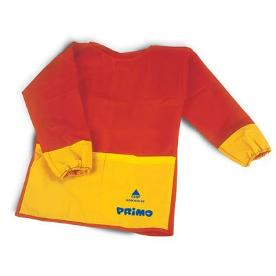 GREMBIULINO PRIMO CON MANICHE IN TESSUTO PLASTICO